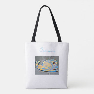 weathered folk art whale tote bag