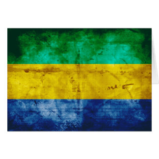 Weathered Gabon Flag Card