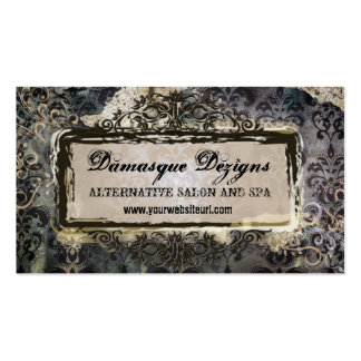 Weathered Grunge Damask Business Card Templates