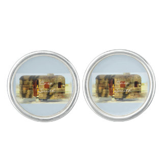 Weathered gypsy caravan Thunder_Cove any color Cufflinks