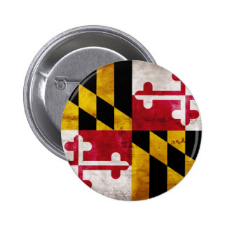 Weathered Maryland Flag Pinback Button