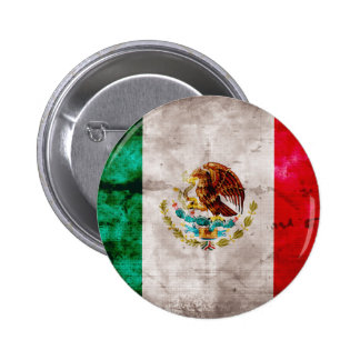Weathered Mexican Flag 6 Cm Round Badge