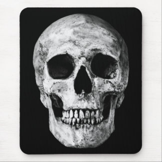 Weathered Old Skull - Black & White Mouse Pad