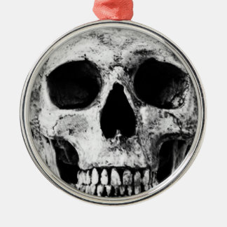 Weathered Old Skull - Black & White Silver-Colored Round Decoration