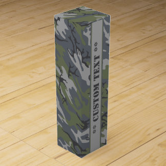 Weathered Outcrop Gray Camo w/ Custom Text Wine Gift Box