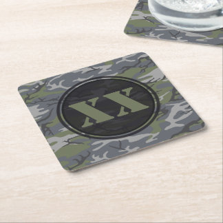 Weathered Outcrop Gray Camouflage Coaster w/ Text