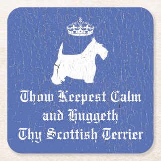 Weathered Paint Scottie Keep Calm Square Paper Coaster