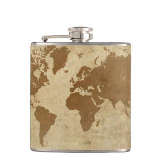 Weathered Parchment World Map Flasks