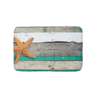 Weathered plank beach rustic seashore bath mats