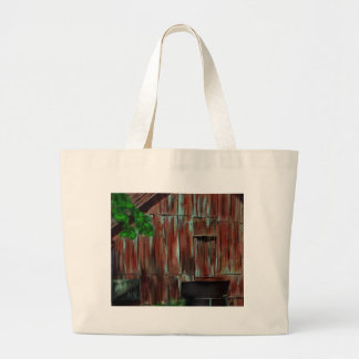 Weathered Red Barn Large Tote Bag