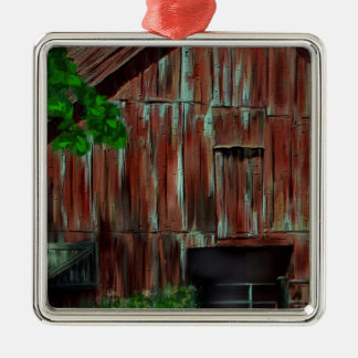 Weathered Red Barn Silver-Colored Square Decoration