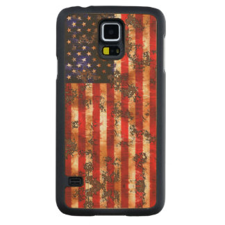 Weathered Rusty American Vertical Flag Carved Maple Galaxy S5 Case