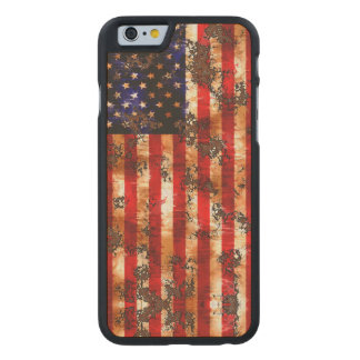 Weathered Rusty American Vertical Flag Carved Maple iPhone 6 Case