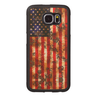 Weathered Rusty American Vertical Flag Wood Phone Case