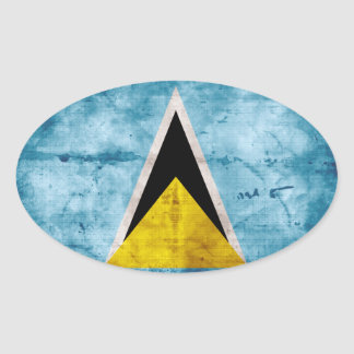 Weathered Saint Lucian Flag Oval Sticker