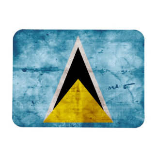 Weathered Saint Lucian Flag Rectangular Magnets