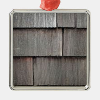 Weathered Shingles Silver-Colored Square Decoration