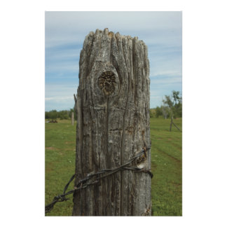 Weathered Sod Home Fence Post - Wild Places Photog Photo Print