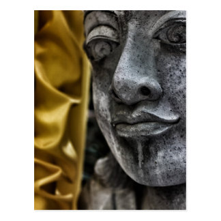 Weathered Statue Face and Yellow Silk Postcard