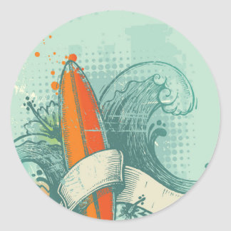 Weathered Surfboard Design Classic Round Sticker