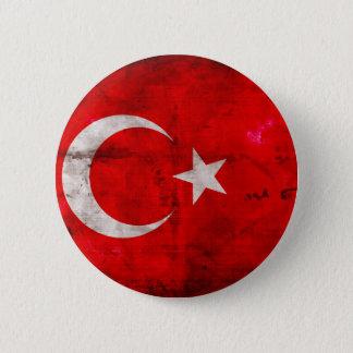 Weathered Turkey Flag 6 Cm Round Badge