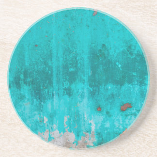 Weathered turquoise concrete wall texture coaster