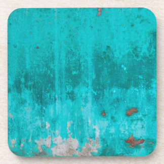 Weathered turquoise concrete wall texture coasters