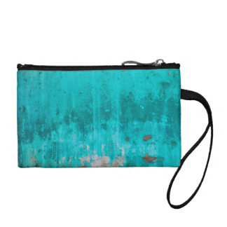 Weathered turquoise concrete wall texture coin purse