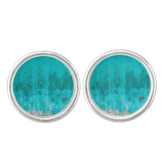Weathered turquoise concrete wall texture cufflinks