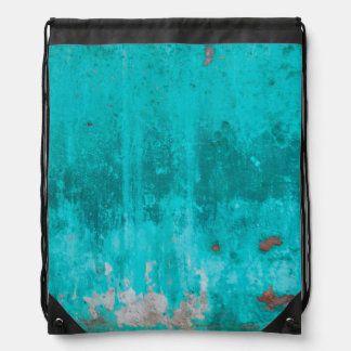 Weathered turquoise concrete wall texture drawstring bag