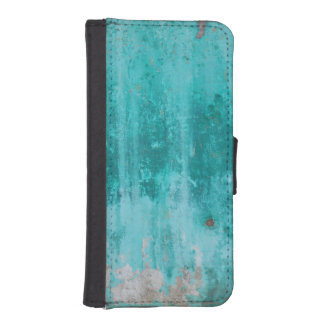 Weathered turquoise concrete wall texture iPhone SE/5/5s wallet case