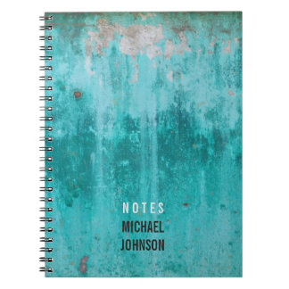 Weathered turquoise concrete wall texture notebook
