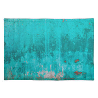Weathered turquoise concrete wall texture placemat