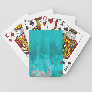 Weathered turquoise concrete wall texture playing cards