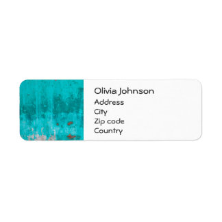 Weathered turquoise concrete wall texture return address label