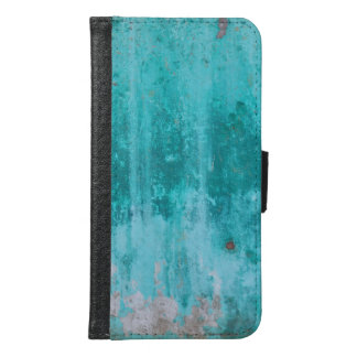 Weathered turquoise concrete wall texture samsung galaxy s6 wallet case