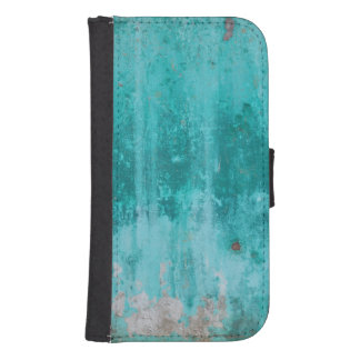 Weathered turquoise concrete wall texture samsung s4 wallet case