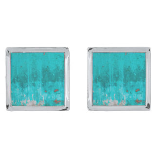 Weathered turquoise concrete wall texture silver finish cufflinks