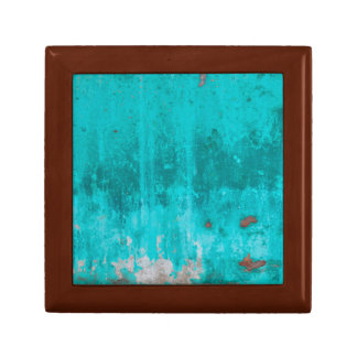 Weathered turquoise concrete wall texture small square gift box