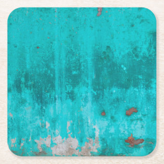 Weathered turquoise concrete wall texture square paper coaster