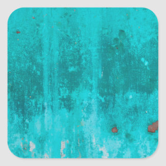 Weathered turquoise concrete wall texture square sticker