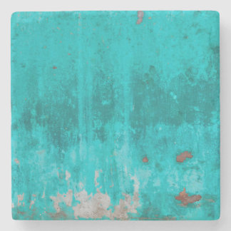 Weathered turquoise concrete wall texture stone coaster