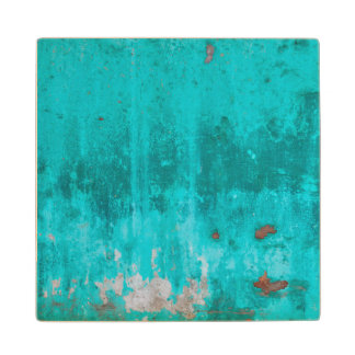 Weathered turquoise concrete wall texture wood coaster