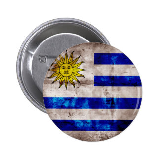 Weathered Uruguay Flag 6 Cm Round Badge