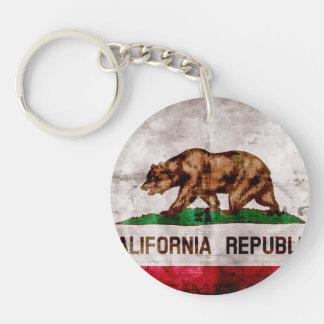 Weathered Vintage California State Flag Key Ring