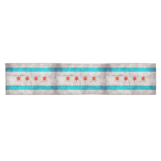 Weathered Vintage Chicago State Flag Short Table Runner