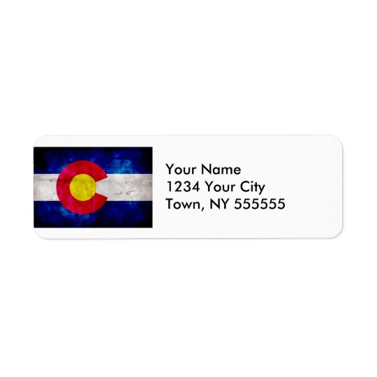 Weathered Vintage Colorado State Flag Return Address Label