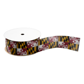 Weathered Vintage Maryland State Flag Grosgrain Ribbon