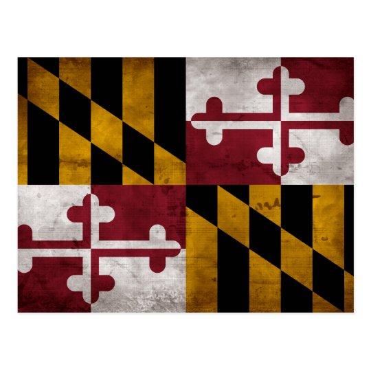 Weathered Vintage Maryland State Flag Postcard