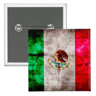 Weathered Vintage Mexico Flag 15 Cm Square Badge